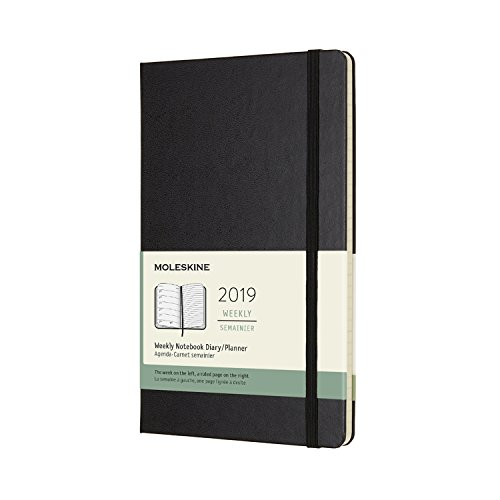 Moleskine Classic Hard Cover 2019 12 Month Weekly Planner, Large (5 x 8.25) Black - Weekly Planner for Students & Professionals, for Organizing and Planning