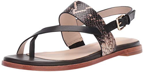 Cole Haan Women's Anica Thong Sandal Flat, Black Multi Snake Print, 7 B US