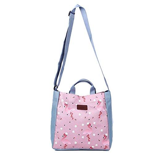 Bolso de hombro impreso de las muchachas, bolso de almacenamiento de la lona para las mujeres, bolso grande de la mochila bolso mochila retro de la mochila del día para el trabajo Rosa