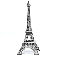 JahyShow Vintage Metal Eiffel Tower Statue Figurine Replica Centerpiece Room Table D¨¦cor Jewelry Stand Holder French Souvenir (10 Inches Tall)