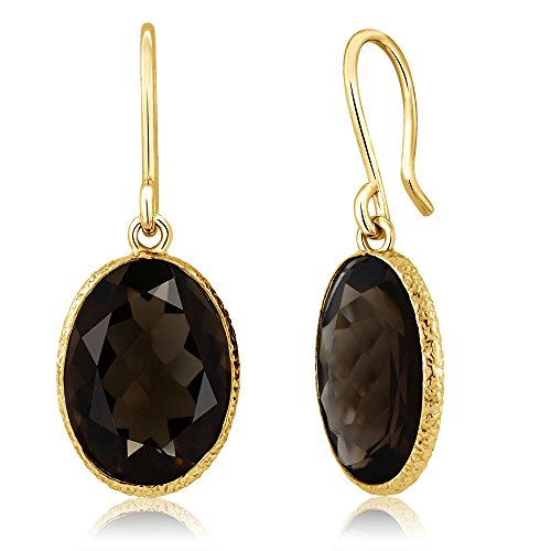Gem Stone King 10.00 Ct Smokey Quartz 14x10mm Oval Shape Gold Plated 925 Silver Dangle Earrings