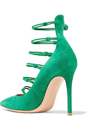 10cm Kolnoo out Partie Strap Chaussures Bottom green Femmes Pompes talon haut Black Cut r6wFrpq5