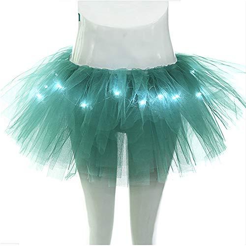 Duanmei LED Light Ballet Jupe Tulle Jupe Mode Jupe Courte Tutu Danse Jupe, Shining Jupe Jupe Jupe Romantique Vert Fonc