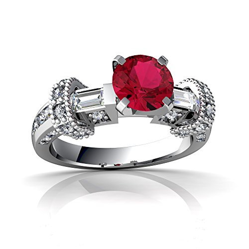 14kt White Gold Lab Ruby and Diamond 6mm Round Antique Style Ring - Size 5.5 ()