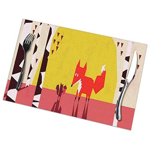 Eliuji Juego de 6 tapetes Antideslizantes Abstractos Fox para mesas de Comedor Alfombrillas Lava
