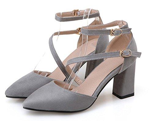 Confort Escarpins Sandales Bloc Boucles Aisun Femme Talons Gris 5SWxqg1