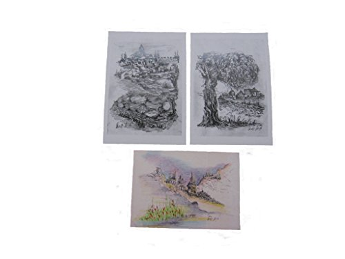 Land Postcard - Set of 3 printed drawings in postcard size - Jerusalem and the Holy land (set No. 4)