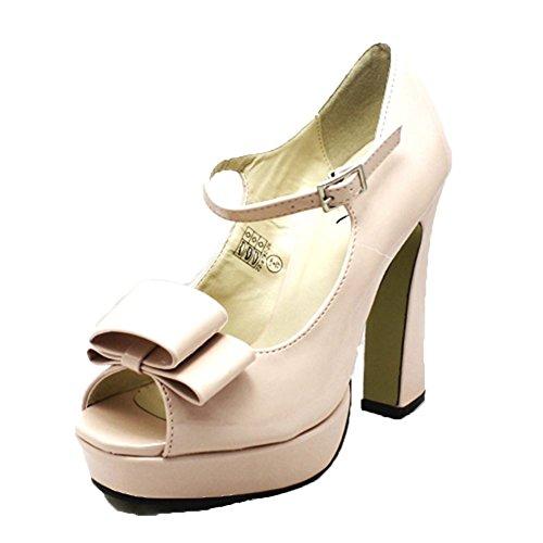Charol Nude Tacón en Bloque Zapatos de salón SIN PUNTA Nude Patent