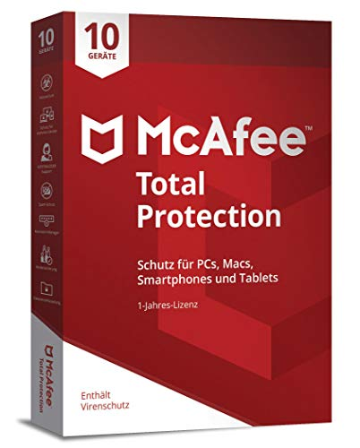 Price comparison product image McAfee Total Protection 10 Device (Code in a Box). Für Windows Vista / 7 / 8 / 8.1 / 10 / MAC / Android / iOs