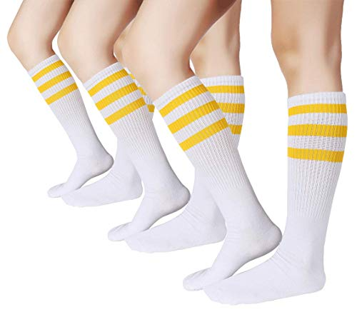 Pareberry Classical Triple Stripes Soft Cotton Over-the-Calf Retro Tube Socks (3-Pairs(Yellow/White)), -