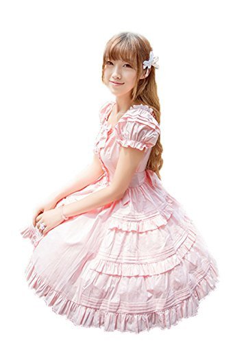 Nuoqi Womens Lolita Sweet Puff Pleated School Girl Bubble Dress Pink (Pleated Bubble)