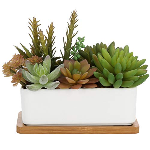 MyGift Mixed Faux Succulent Plant Arrangement in White Ceramic Pot with Bamboo Tray