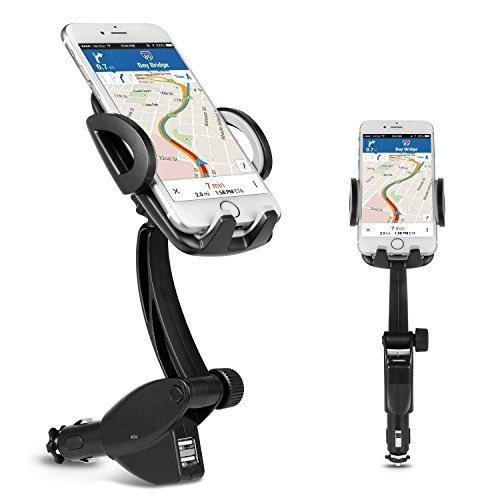Phone Car Mount Holder, Ameauty 3 in 1 Cigarette Lighter Car Mount Charger with Dual USB Charging Ports for iPhone X/8/8 Plus/7/7Plus, 6s/6s Plus, Samsung Galaxy S8/S8 Plus and More from Ameauty