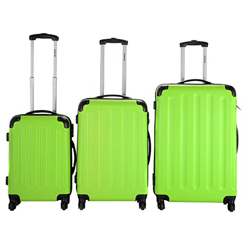 Suitcase Green (Goplus 3 Pcs Luggage Set Hardside Travel Rolling Suitcase ABS Globalway (Green))
