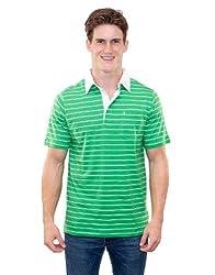 Criquet Shirts Men's Classic Stripe Polo Small Kelly Green with White Stripe