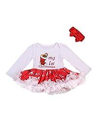 Mornbaby Baby Girl Christmas Dress My First Christmas Romper Tutu Dress + Headband