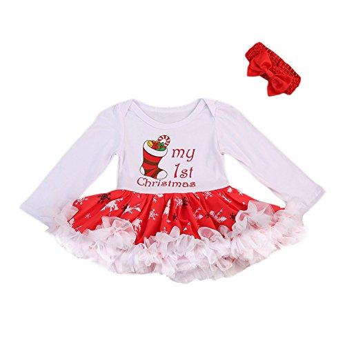 First Christmas Romper - Baby Girl Christmas Dress My First Christmas Romper Tutu Dress + Headband (3-9 months, Sock)