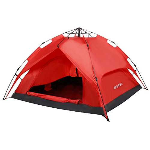 ANCHEER Portable 2 Person Camping Tent for Kids & Adults - Waterproof Pop Up Backpacking Camping Dome Tent for Outdoor Sports - Beach Hiking Fishing (RED)