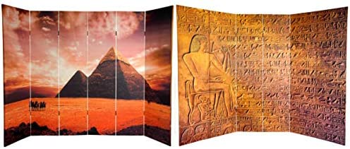 Oriental Furniture 6 ft. Tall Double Sided Egyptian Pyramid Canvas Room Divider