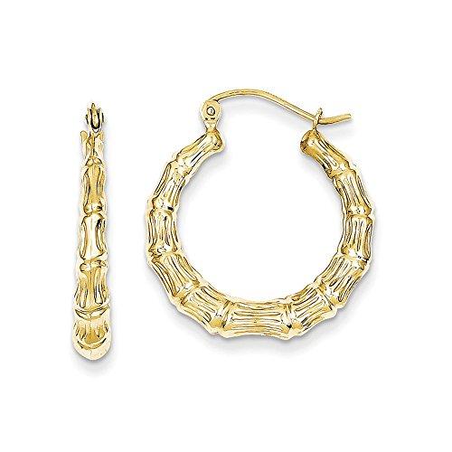 - 10k Polished Hollow Classic Bamboo Hoop Earrings