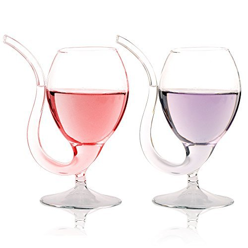 LUCKSTAR Vampire Wine Glass - 300ml/10oz Creative Vampire Filter Red Wine Glass Vodka Shot Cup Whiskey Drinking Wineglass Mug Sucking Clear Juice Cup Goblet With Drinking Tube Straw (Set of 4) - Porto Decanter Set