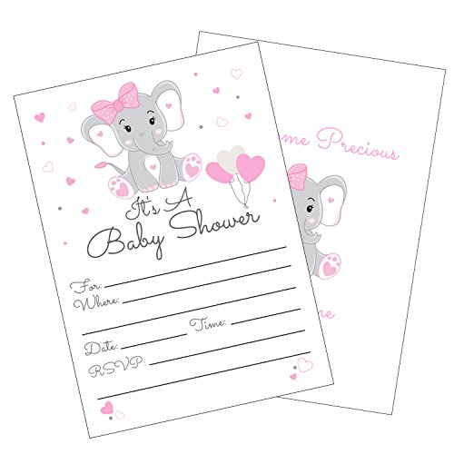 Pink Elephant Girl Baby Shower Invitations with Envelopes for Elephant Theme Baby Shower -Fill in Invites (Large 5x7) 25 Count]()