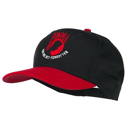 Pow Mia Logo Embroidered Two Tone Cap - Red Black OSFM -