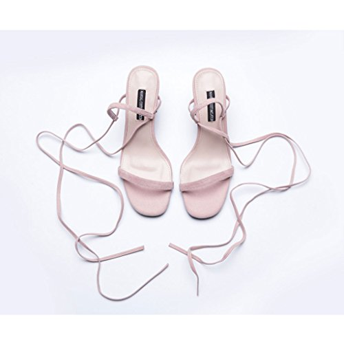 Slim Roman Shoes Summer Pink and Leather European Tied High Women's Straps Sandals American Heeled H7wztvxqW