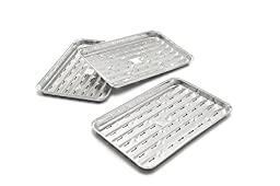 Grill Aluminum Foil Grilling Trays Disposable Broiler Pan, Bulk Packed Case Pack 100 Pieces Broiler Pan