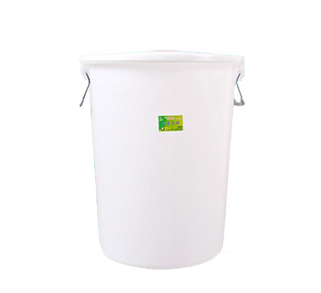 CSQ Property Trash Can, Large Plastic Circular Trash Can Hotel Kitchen Industry Sanitation High Capacity Covered Thicken Storage Bucket 40-60L (Color : White, Size : 40L)