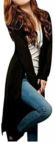 Para mujer Casual manga larga Cardigan de punto jersey de punto abrigo outwear negro
