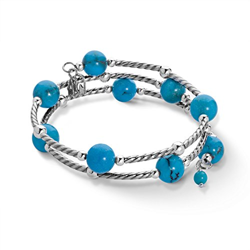 American West Sterling Silver Blue Turquoise Gemstone Coil Wrap Bracelet