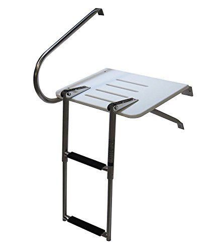 - Pactrade Marine Boat Universal Swim Over Platform Mount Telescopic Ladder, 2 Step in/Outboard One Rail