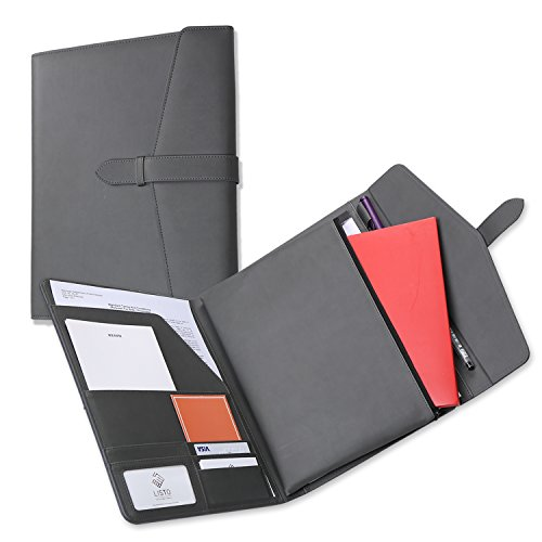 TriFold Portfolio With Secret Zipper Pouch for Tablet PC or iPad or Kindle, Document Organizer Including Letter sized Writing Pad, Padfolio with Neat Strap Closure Classic Design Gray Color