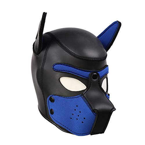 Unisex Rubber Puppy Dog Hood Mask Wild Animal Head Masks Toys for Costume Cosplay (Black-Blue)]()