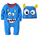 H+K+L 2PCS Halloween Baby Boys Girls O-Neck Long Sleeve Cartoon Print Romper Jumpsuit+Hat Set Outfit (Light Blue, 90)