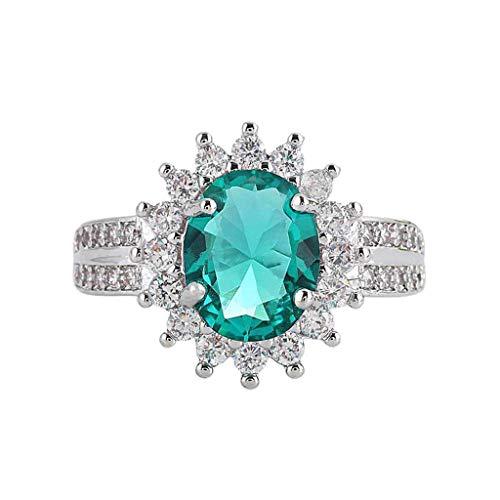Fxbar Elegant Sun Flower Eternity Rings Women Charm Emerald Zircon Engagement Ring Couple Anniversary Present (Silver,8)