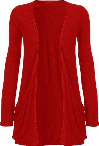 Fashion Womens Boyfriend Pocket Cardigan Shrug Sweater (S/M (6/8), RED)
