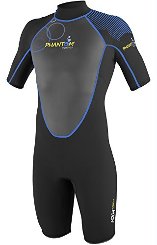 (Phantom Aquatics Men's Voda Premium Shorty Wetsuit, Black Blue, Medium)