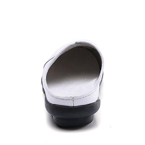 Mules Women's Flats Wallking Amber Clogs Shoes Labato Slipper Leather Slip on ZAP5xqH
