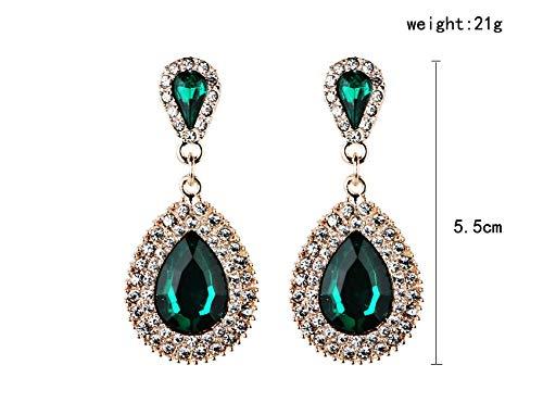Bohemia Bridal Drop Earrings Fashion Jewelry Luxury Dangle Crystal Earrings for Women - Neicoh(Green)