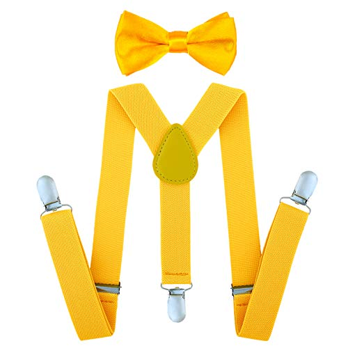 Child Kids Suspenders Bowtie Set - Adjustable Suspender Set for Boys and Girls (25Inches (5 Months to 6 Years),Yellow) -