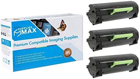 3//PK-10000 Page Yield 50F0XA0/_3PK SuppliesMAX Compatible Replacement for Lexmark MS-410//510//610 High Yield Toner Cartridge NO. 501X
