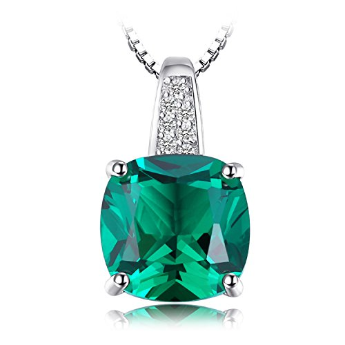 JewelryPalace Cushion 3.4ct Simulated Green Russian Nano Emerald Solitaire Pendant Necklace 925 Sterling Silver 18 Inches (Russian Emerald)