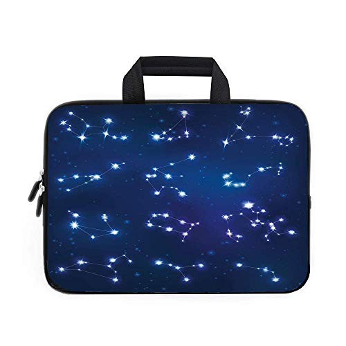 VANKINE Constellation Laptop Carrying Bag Sleeve,Neoprene Sleeve Case/Realistic Celestial Gemini Leo Pisces Sagittarius Galactic/for Apple MacBook Air Samsung GoogleDark Blue Light Bl