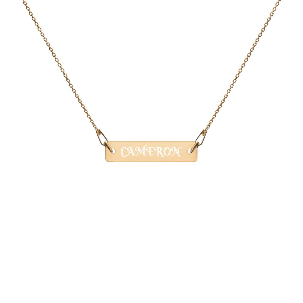 Minimalist Necklace Engraved in Silver Personalized for Man with Name Cameron 24k Gold