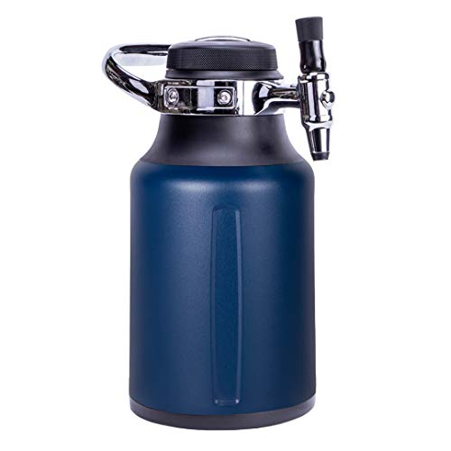 GrowlerWerks uKeg Go Carbonated Growler and Craft Beverage Dispenser for Beer, Soda, Cider, Kombucha and Cocktails, 64 oz, Midnight