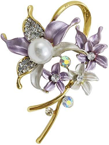 Bijoux De Ja Gold Tone Enamel Rhinestone Faux Pearl Wild Orchid Design Brooch Pin (Purple)