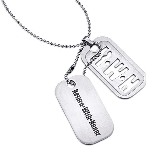 Marine Tag Dog Silver - Mens Dog Tag [Return with Honor/RWH] - 2-in-1 Set - [Standard Military Chain] - Extra Large Tag Size [Die Cut] / Optional Key Chain Function [Deployment/Christmas/Missionary Gifts for Men]