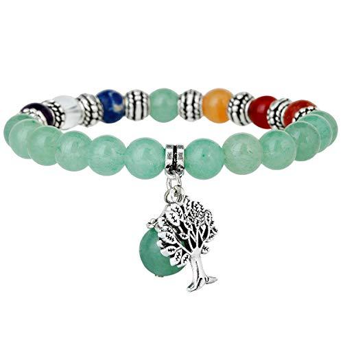 TUMBEELLUWA Beads Bracelets Semi Precious Stone Yoga Beads Healing Crystals Tree of Life Charm Chakra Bracelet Handmade Jewelry for Women,Green Aventurine(7 Chakra)